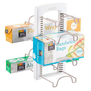 White adjustable wrap organizer with eight racks holding sandwich bags, plastic wrap, and aluminum foil. photo