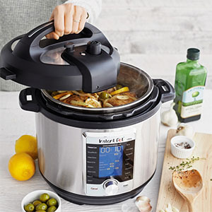 Instant Pot cooking a meal photo