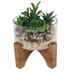 Faux succulents in a glass bowl on wooden pegs. photo