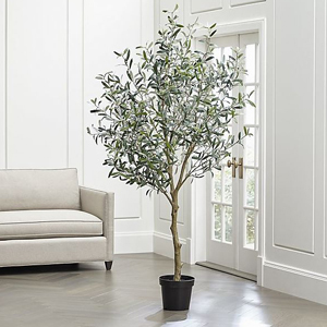 Faux olive tree in a small black planter. photo