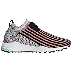 Adidas Originals Support Sock Primeknit running shoes in pink, black, and white. photo