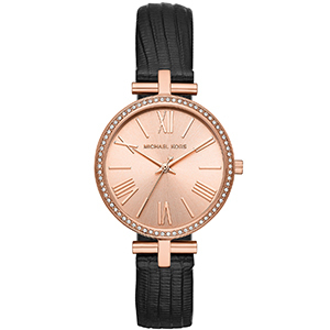 Michael Kors rose gold watch with black band and stud detailing photo