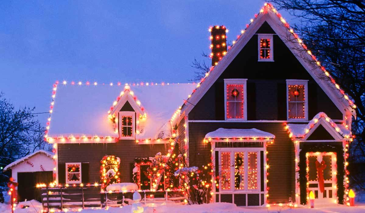 House decorated with Christmas lights photo