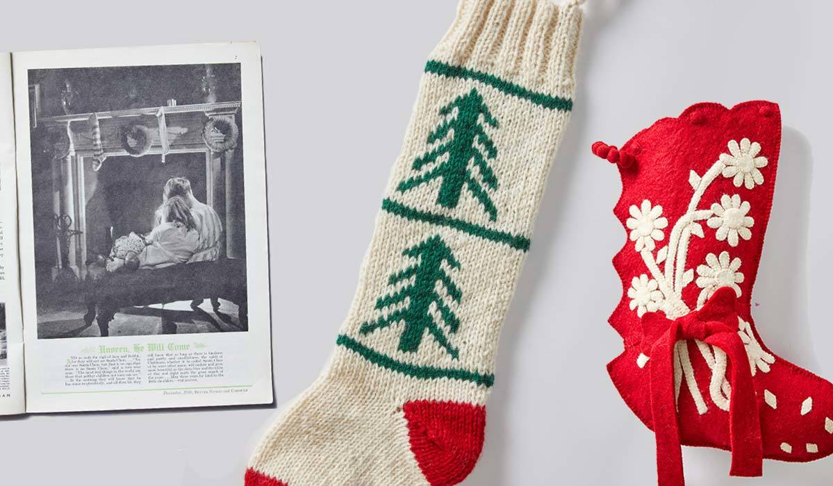 An old magazine and two holiday stockings. photo
