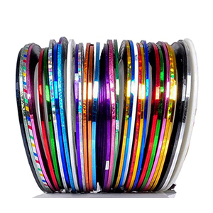 Set of nail stripe tape in 30 colors photo