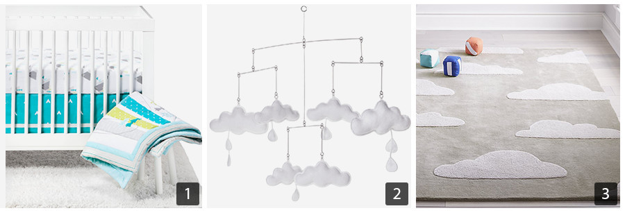 Adventure crib bedding, cloud mobile, and cloud nursery rug photo