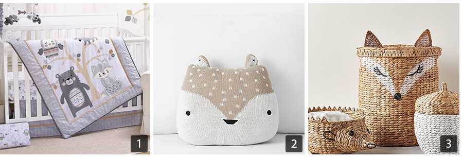 Animal baby bedding, fox throw pillow, and fox laundry hamper photo