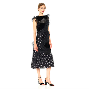 Black Floral Dress with Ruffles From Rebecca Taylor photo