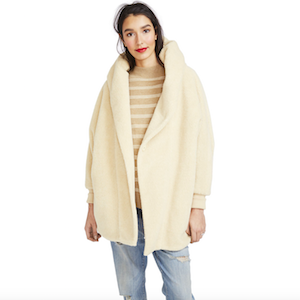 Ivory Faux Shearling Maternity Coat from Hatch Collection photo