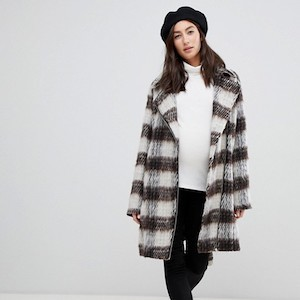 White and Brown Plaid Maternity Coat from Mama.Licious photo
