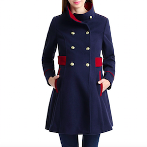 Navy and Red Double Breasted Maternity Military Coat from Kimi and Kai photo