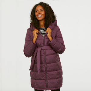 Purple Hooded Maternity Puffer Coat from H&M photo