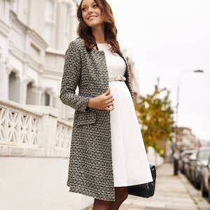 Boucle Tweed Gray Collarless Coat from Tiffany Rose photo