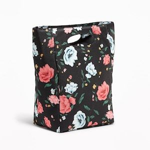 Black floral insulated lunch bag from Old Navy photo
