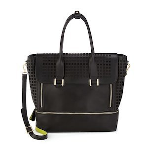 Black Faux Leather Perforated Tote from Uncommon Goods photo