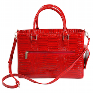 Red Croc Embossed Double Handle Satchel with Crossbody Strap by Primeware photo