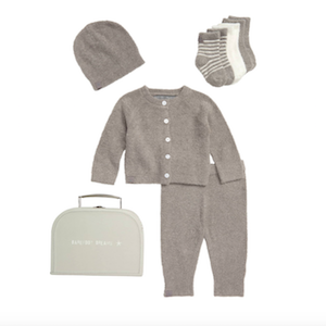 Gray sweater and leggings with hat and matching socks suitcase set from Barefoot Dreams photo