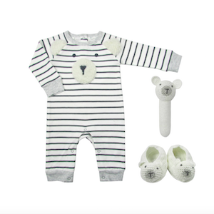 White and gray striped onesie with crochet bear face and matching bear booties and rattle from Albetta photo