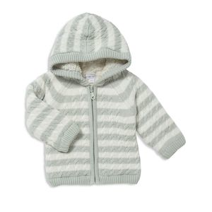 Gray and white striped knit sherpa-lined jacket from Angel Dear photo