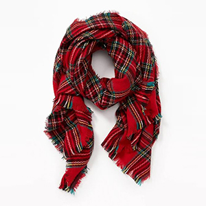 Plaid blanket scarf in red photo