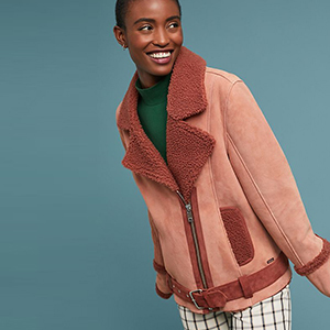 Pink teddy coat from Anthropologie photo
