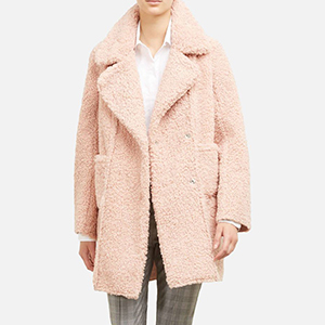 Kenneth Cole teddy coat in blush pink photo