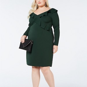 Green ruffle trim bodycon dress from Love Squared photo