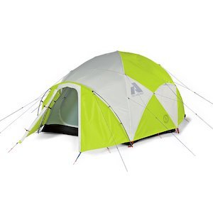 Neon green and grey expedition tent from Eddie Bauer photo