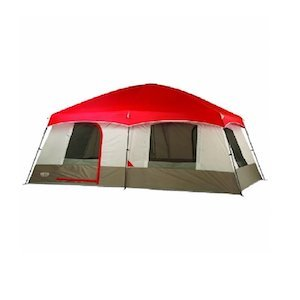 Red and tan 10 person tent from Wenzel photo