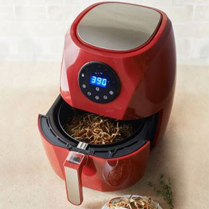 Red HealthyFry air fryer with onion shavings inside. photo