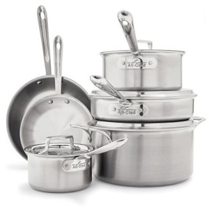 Stainless steel cookware set with lids photo