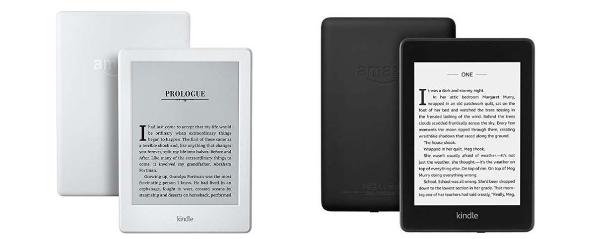 White original Kindle Paperwhite and a black all-new Kindle Paperwhite. photo