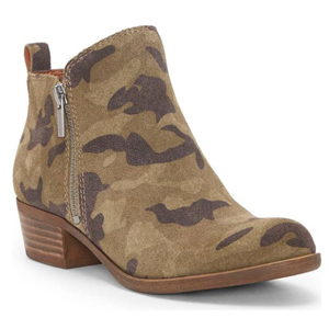 Camo booties with a low heel. photo