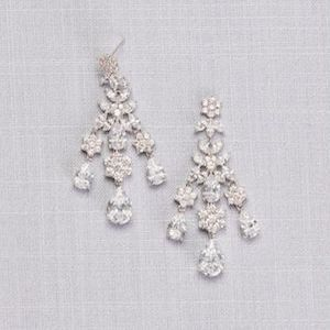 David's Bridal Floral and Pear Cubic Zirconia Chandelier Earrings Black Friday photo
