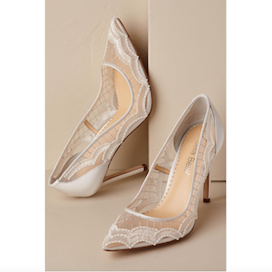 white lace Bella Belle nadia shoes at BHLDN Black Friday photo