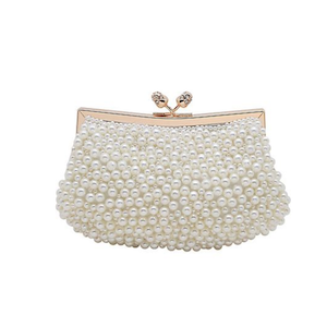 white pearl clutch bag from La Regale at David's Bridal Black Friday photo