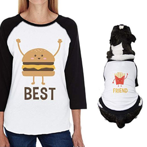 Hamburger and french fry baseball tees for you and your dog. photo