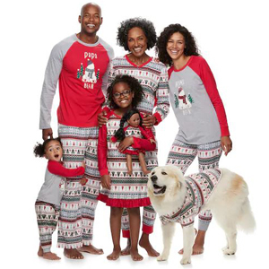 Family pajama set for the holidays that includes a sweater for your dog. photo