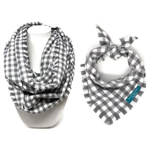 Gray and white plaid scarves for you and your pet. photo