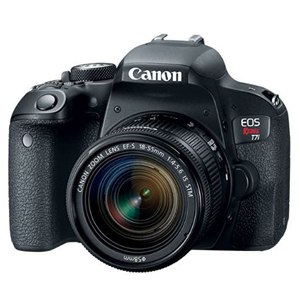Black Canon EOS Rebel T7i DSLR camera from Amazon photo