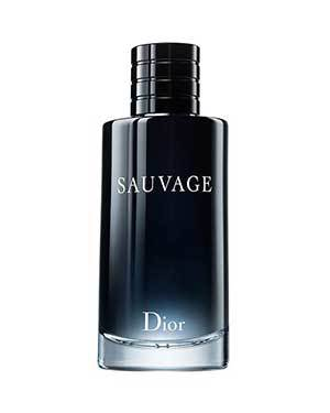 Black and blue tall bottle of Dior Sauvage cologne photo
