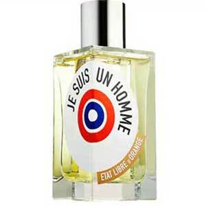 Tall square bottle of yellow Je Suis Un Homme with a white label with a red and blue bullseye. photo