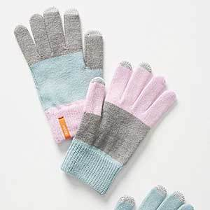 Pink, gray, and blue acrylic tech gloves photo