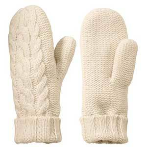Ivory wool cable knit mittens photo