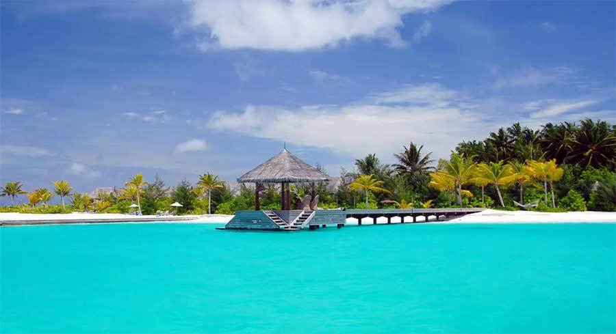 Island resort in turquoise blue waters with palm trees in the background. photo