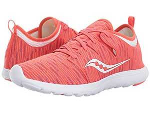 Coral and multicolor patterned running shoes photo