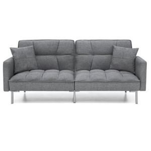Gray tufted convertible futon with two pillows. photo