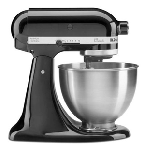 Black KitchenAid tilt-head stand mixer. photo