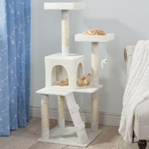 White, gray, and beige 4-ft. cat tree with scratching posts and beds. photo