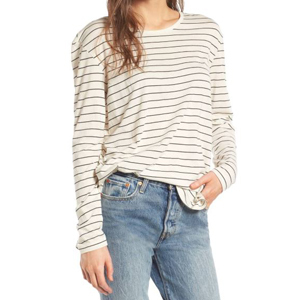 Ivory long sleeve with a horizontal striped pattern. photo